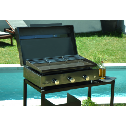 Plancha grill 3 burners - enamelled steel