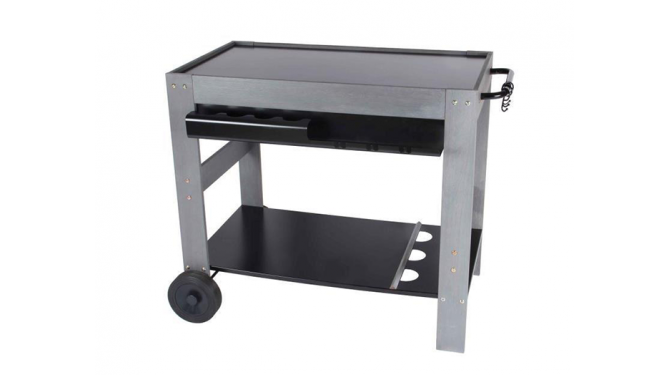 Wooden cart with stainless steel tray