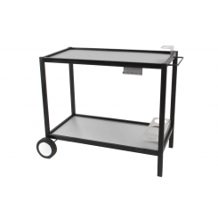 Metal table with stainless steel surface