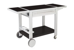 Metal trolley with large wooden work surface