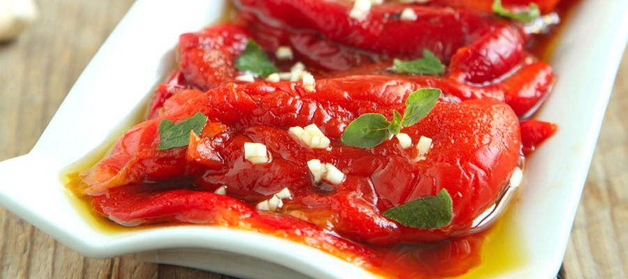 Roasted peppers in oil