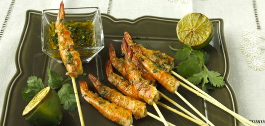Grilled gambas with ginger