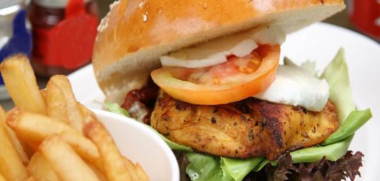 Chicken burgers with bacon