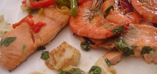 Grilled fish with mixed peppers