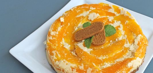 Cheesecake with caramelized mango plancha